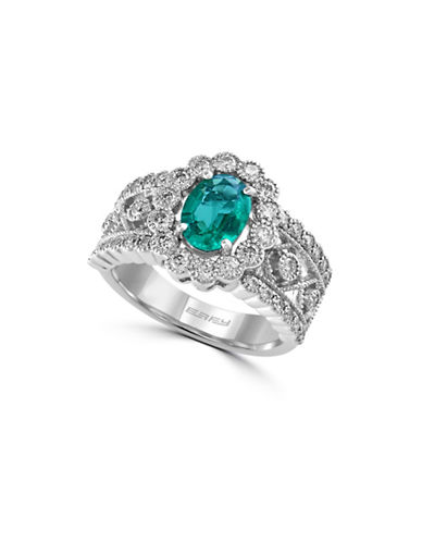 Effy 14K White Gold Emerald Ring with 0.85 TCW Diamonds-EMERALD-7