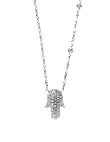 Effy 14K White Gold and Diamond Hamsa Necklace-DIAMOND-One Size