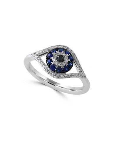 Effy 14K White Gold 0.17 TCW Diamond and Sapphire Evil Eye Ring-SAPPHIRE-7