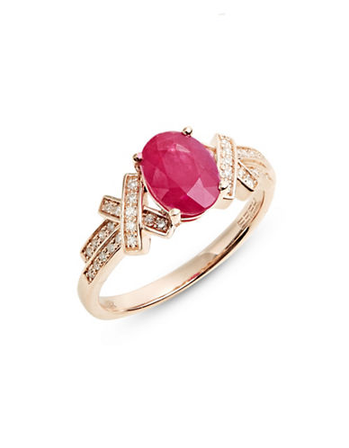 Effy 14K Rose Gold Ring with Mozambique Ruby and 0.16 TCW Diamonds-RED-7