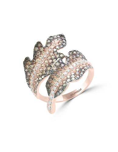 Effy 14K Rose Gold Studded Leaf Ring with 1.63 TCW White and Espresso Diamonds-ROSE GOLD-7