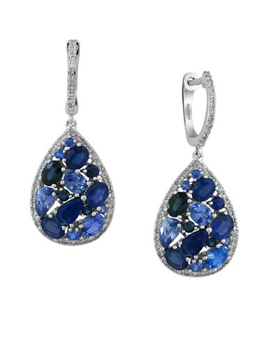 Effy Diamond with Ceylon and Sapphire 14K White Gold Teardrop Earrings-SAPPHIRE-One Size
