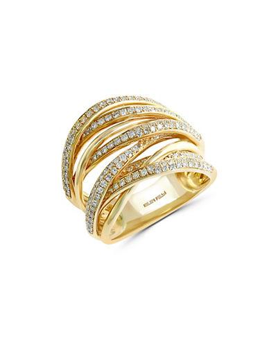 Effy 14k Yellow Gold and 0.71 TCW Diamond Overlap Ring-DIAMOND-7