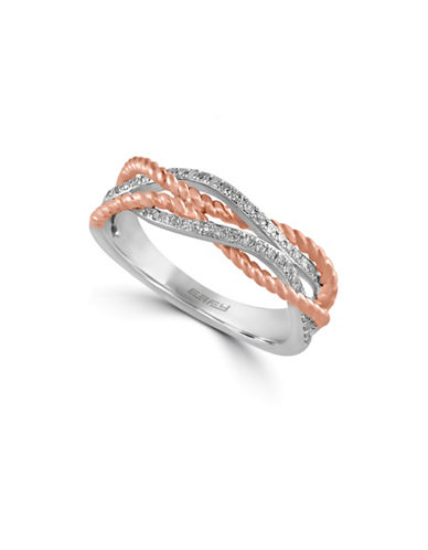 Effy 14K White Gold and Rose Gold Ring with 0.17 TCW Diamonds-DIAMOND-7