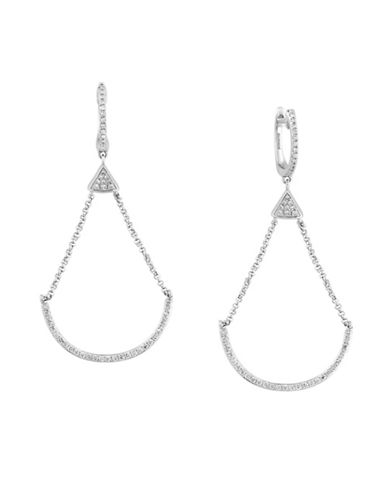 Effy 14K White Gold and 0.41 TCW Diamond U-Shaped Drop Earrings-DIAMOND-One Size