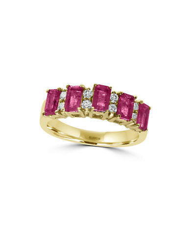 Effy 14K Yellow Gold Ruby Ring with 0.2TCW Diamonds-RUBY-7