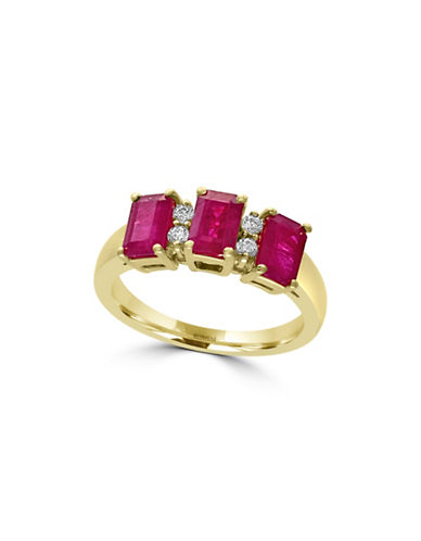 Effy 14K Yellow Gold Triple Ruby Baguette Ring with 0.2 TCW Diamonds-RUBY-7