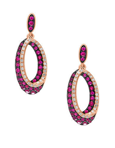 Effy 14K Rose Gold Ruby Shadow Earrings with  0.22 TCW Diamonds-RUBY-One Size