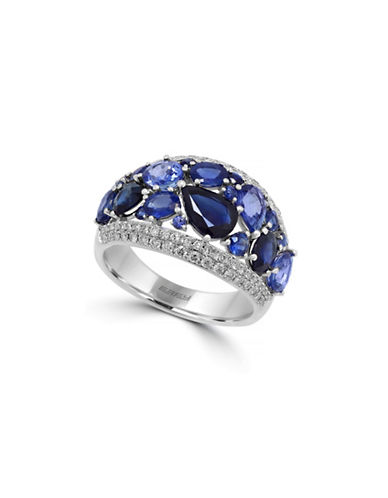 Effy 14K White Gold Ring with Sapphires and 0.46 Total Carat Weight Diamonds-SAPPHIRE-7