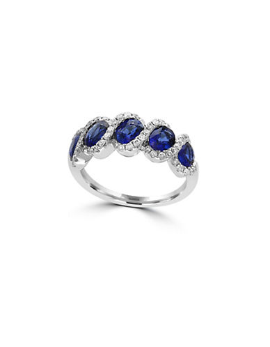 Effy 14K White Gold Sapphire Ring with 0.36 TCW Diamonds-SAPPHIRE-7