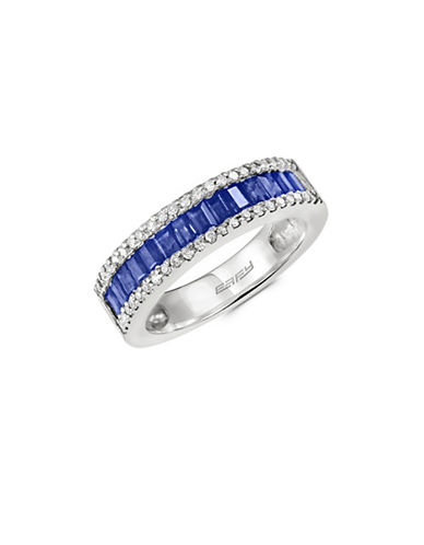 Effy 14K White Gold Sapphire and 0.22TCW Diamond Band Ring-SAPPHIRE-One Size