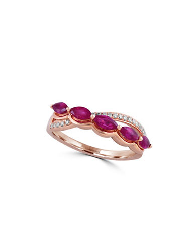 Effy 0.09 TCW Diamond and Ruby 14K Rose Gold Ring-RUBY-7