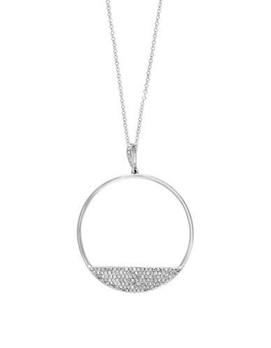 Effy 0.42 TCW Diamond 14K White Gold Hoop Pendant Necklace-DIAMOND-One Size