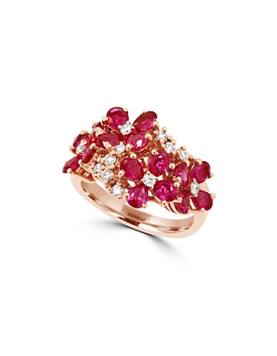 Effy 0.31 TCW Diamond and Ruby 14K Rose Gold Flower Ring-RUBY-7