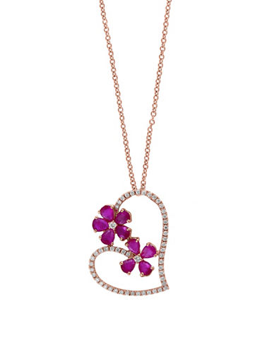 Effy 0.27 TCW Diamond and Ruby 14K Rose Gold Flower Heart Pendant Necklace-RUBY-One Size