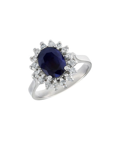 Effy 14kt White Gold Sapphire And Diamond Ring-BLUE-6