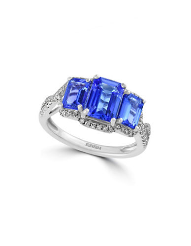 Effy 14K White Gold Ring with Tanzanite and 0.27 TCW Diamonds-TANZANITE-7