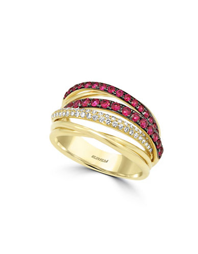 Effy 0.2 TCW Diamond, Natural Ruby, 14K Yellow Gold Ring-RUBY-7
