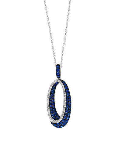 Effy 14K White Gold Necklace with Sapphires and 0.18 TCW Diamonds-SAPPHIRE-One Size