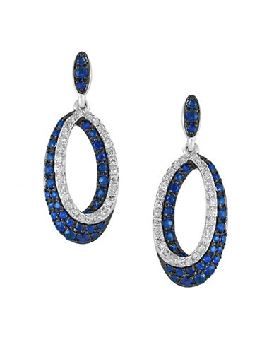 Effy 14K White Gold Earrings with Sapphires and 0.22 TCW Diamonds-SAPPHIRE-One Size