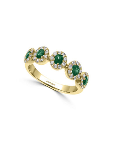 Effy 14K Yellow Gold 0.30 TCW Diamond and Emerald Ring-EMERALD-7