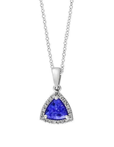 Effy 0.08 TCW Diamond and Tanzanite 14K White Gold Pendant Necklace-TANZANITE-One Size