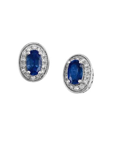 Effy 0.11 TCW Diamond and Sapphire 14K White Gold Stud Earrings-SAPPHIRE-One Size