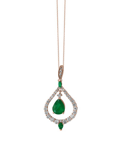 Effy Emerald, 14K Rose Gold and 0.9 TCW Diamond Nested Teardrop Pendant Necklace-EMERALD-One Size