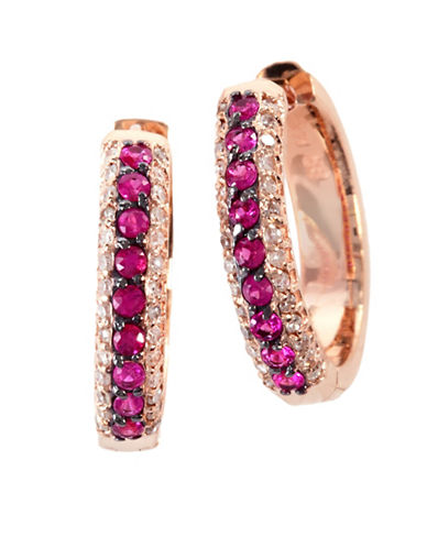 Effy 14K Rose Gold Natural Ruby Earrings with 0.22TCW Diamonds-RUBY-One Size