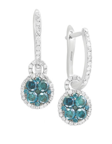 Effy 1.23 TCW White and Blue Diamond 14K White Gold Studded Drop Earrings-BLUE-One Size