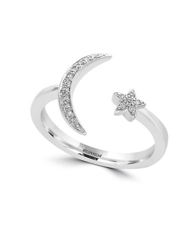 Effy 0.08 TCW Diamond and 14K White Gold Moon Star Ring-WHITE-7