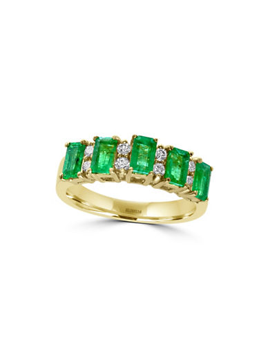 Effy 14K Yellow Gold Emerald Baguette Ring with 0.2 TCW Diamonds-EMERALD-7