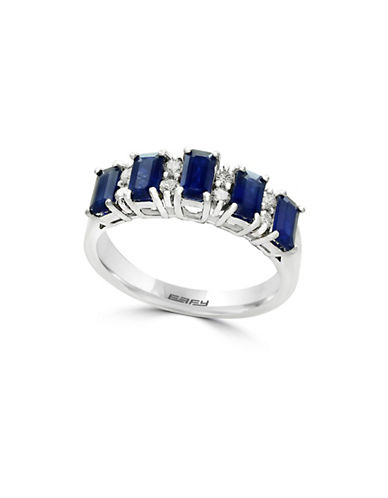 Effy 14K White Gold, Diamond and Sapphire Band Ring-BLUE-7