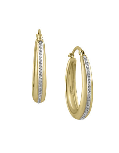 Effy 0.19 TCW Diamond Pave 14K Yellow Gold Hoop Earrings-DIAMOND-One Size