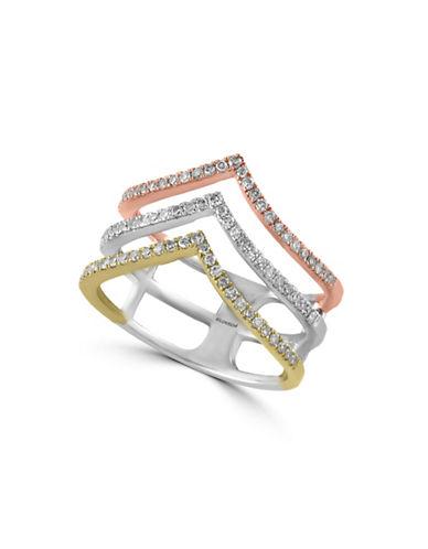 Effy Pointed 14K Yellow Rose White Gold 0.4 Total Carat Weight Diamond Ring-DIAMOND-7