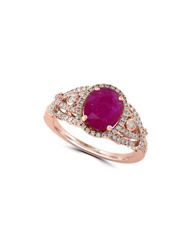 Effy Mozambique Ruby 14K Rose Gold Ring with 0.54 TCW Diamonds-RUBY-7