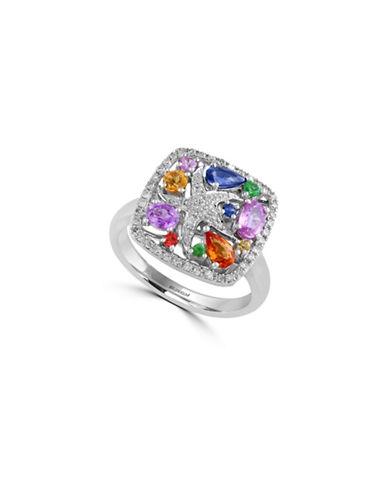 Effy 0.25 TCW Diamond and Sapphire 14K White Gold Starfish Ring-MULTI-7