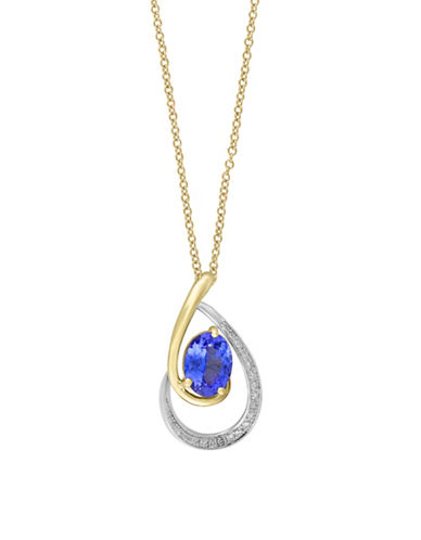 Effy 0.09 TCW Diamond and Tanzanite 14K Gold Pendant Necklace-TANZANITE-One Size