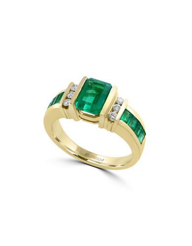 Effy 14K Yellow Gold Square Emerald Ring with 0.2 TCW Diamonds-EMERALD-7