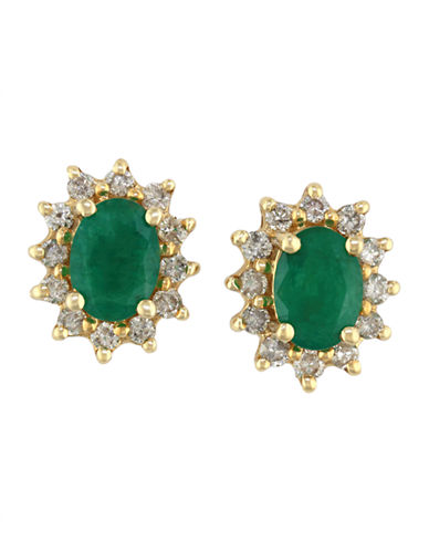 Effy 14K Yellow Gold Emerald and Diamond Earrings-EMERALD-One Size