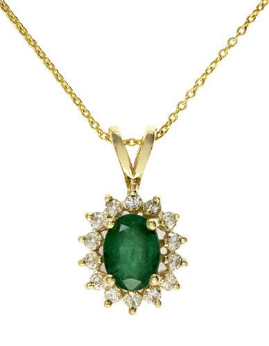 Effy 14K Yellow Gold Diamond and Emerald Pendant-EMERALD-One Size