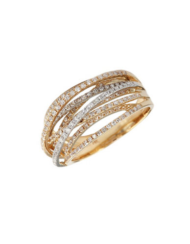 Effy Diamond Ring In White And Yellow Gold-TWO TONE GOLD-7