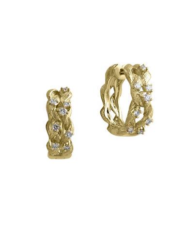 Effy 14K Yellow Gold 0.41TCW Diamond Twisted Hoop Earrings-DIAMOND-One Size