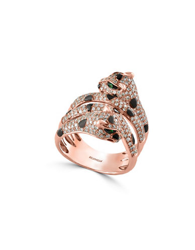 Effy 14K Rose Gold Tsavorite Double Leopard Ring with 1.07 TCW Diamonds-DIAMOND-7