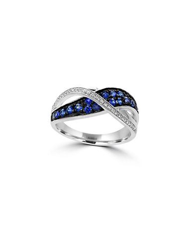 Effy 14K White Gold Sapphire Overlap Ring with 0.07 TCW Diamonds-SAPPHIRE-7