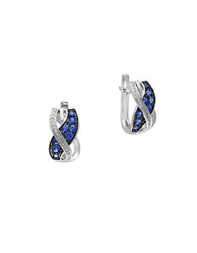 Effy 14K White Gold Sapphire Overlap Hugger Earrings with 0.07 TCW Diamonds-SAPPHIRE-One Size