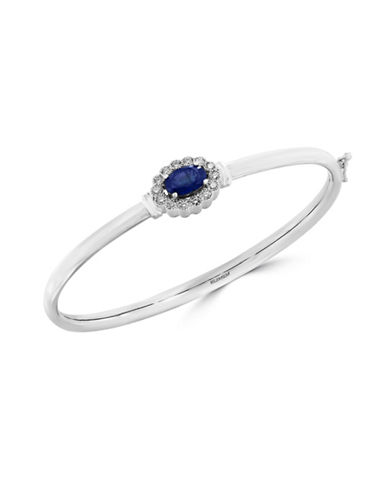 Effy 14K White Gold Sapphire Bangle with 0.041 TCW Diamonds-SAPPHIRE-One Size