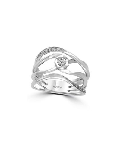 Effy 14K White Gold Ring with 0.18 TCW Diamonds-DIAMOND-7