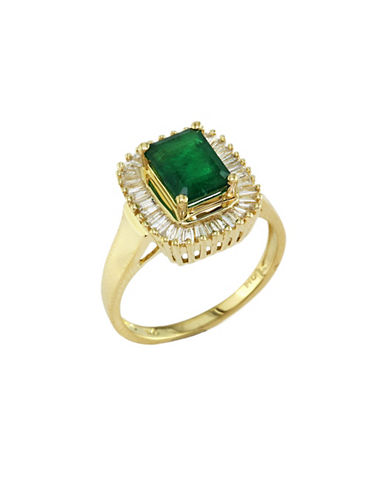Effy 14K Yellow Gold  Diamond And Emerald Ring-EMERALD-7
