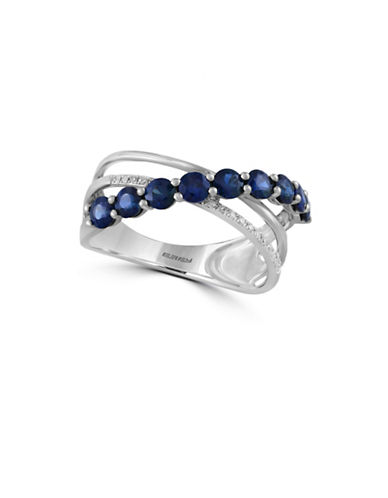 Effy 0.06 TCW Diamond and Sapphire 14K White Gold Ring-SAPPHIRE-7